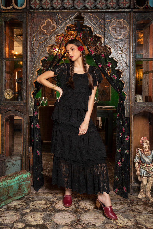 Carmen Maxi Skirt - Moonless Black - Senorita by Tulle and Batiste