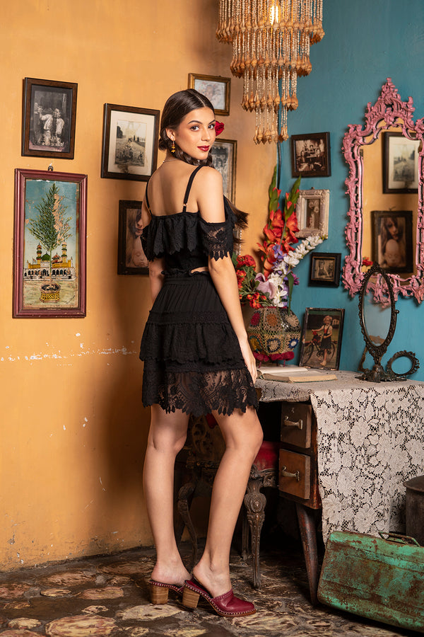Carmen Mini Skirt - Moonless Black - Senorita by Tulle and Batiste