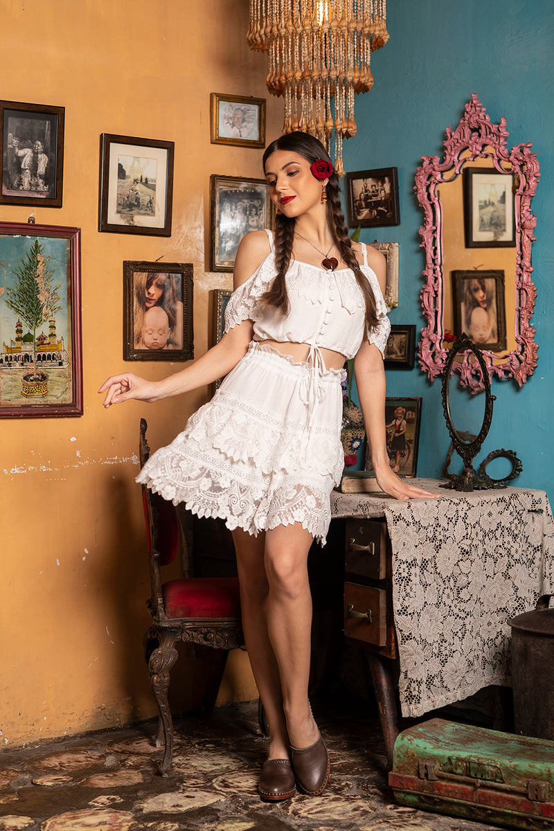 Carmen Mini Skirt - Snow White - Senorita by Tulle and Batiste