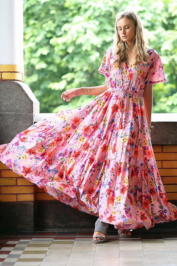 Esmeralda Maxi Dress - Pink Blossom - Tulle and Batiste