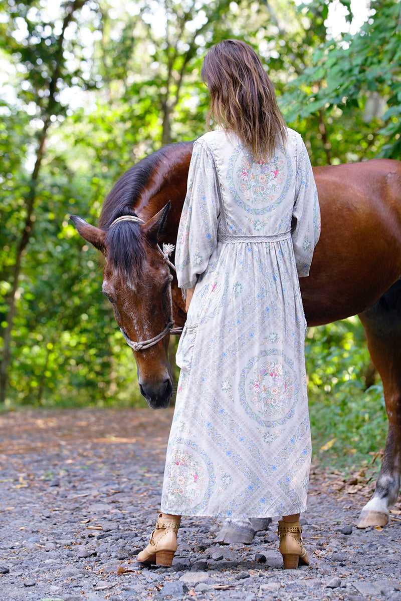 Fabbie Boho Dress - Mourning Dove - Tulle and Batiste
