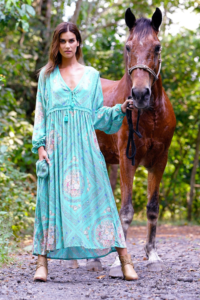 Fabbie Boho Dress - Turquoise - Tulle and Batiste