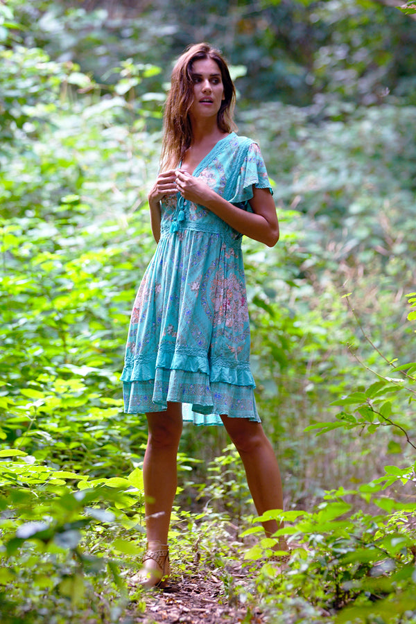 Fabbie Mini Dress - Turquoise - Tulle and Batiste