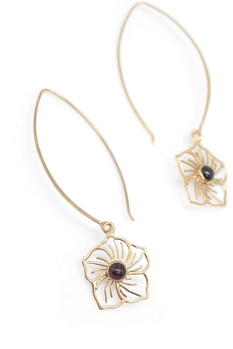 Flower Power Earrings - Garnet - Tulle and Batiste