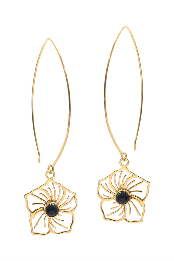 Flower Power Earrings - Onyx - Tulle and Batiste