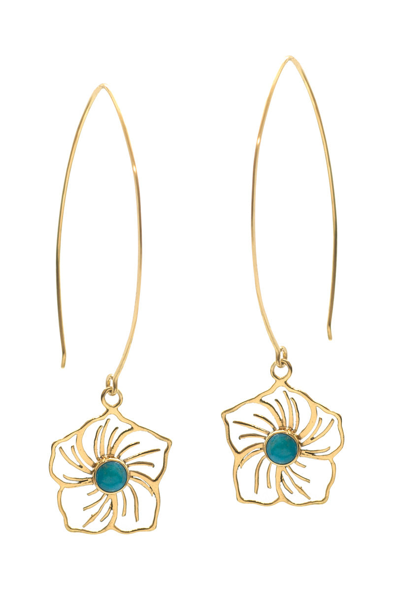 Flower Power Earrings - Turquoise - Tulle and Batiste