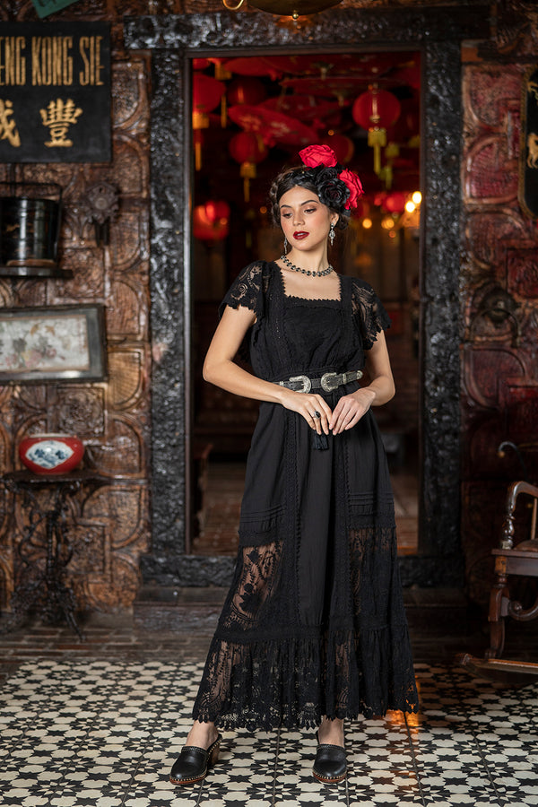 Frida Maxi Dress - Moonless Black - Senorita by Tulle and Batiste