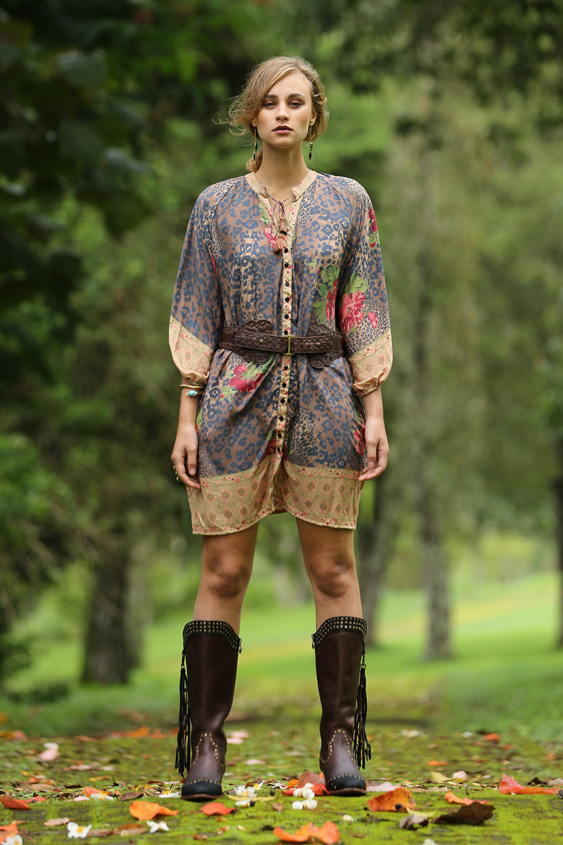 Gazelle Shirt Dress - Pecan - Tulle and Batiste