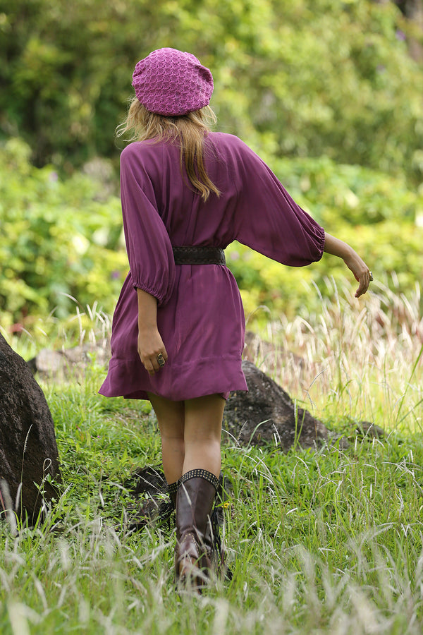 Gazelle Shirt Dress - Plain Purple Potion - Tulle and Batiste