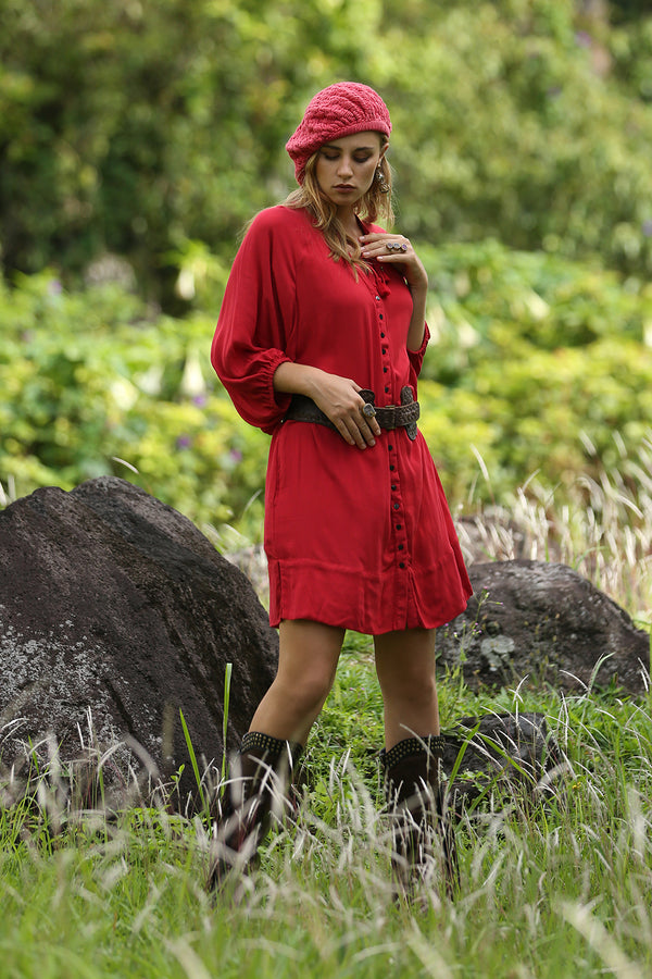Gazelle Shirt Dress - Plain Scarlet Sage - Tulle and Batiste