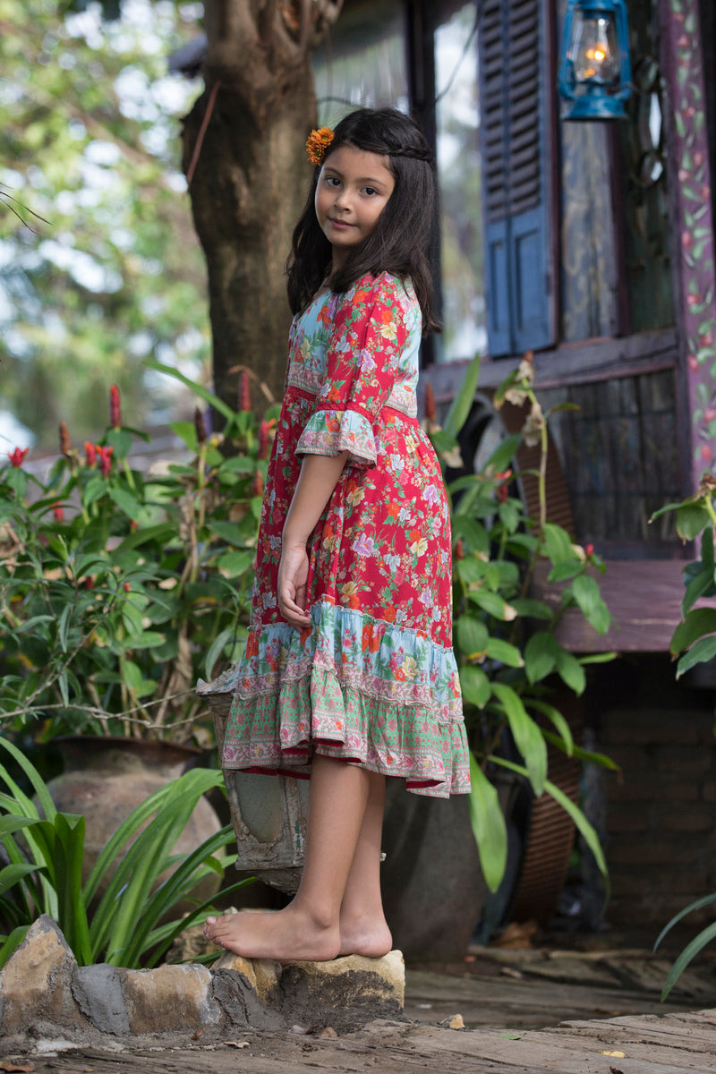 Gihon Boho Dress - Rococo Red - Tulle and Batiste
