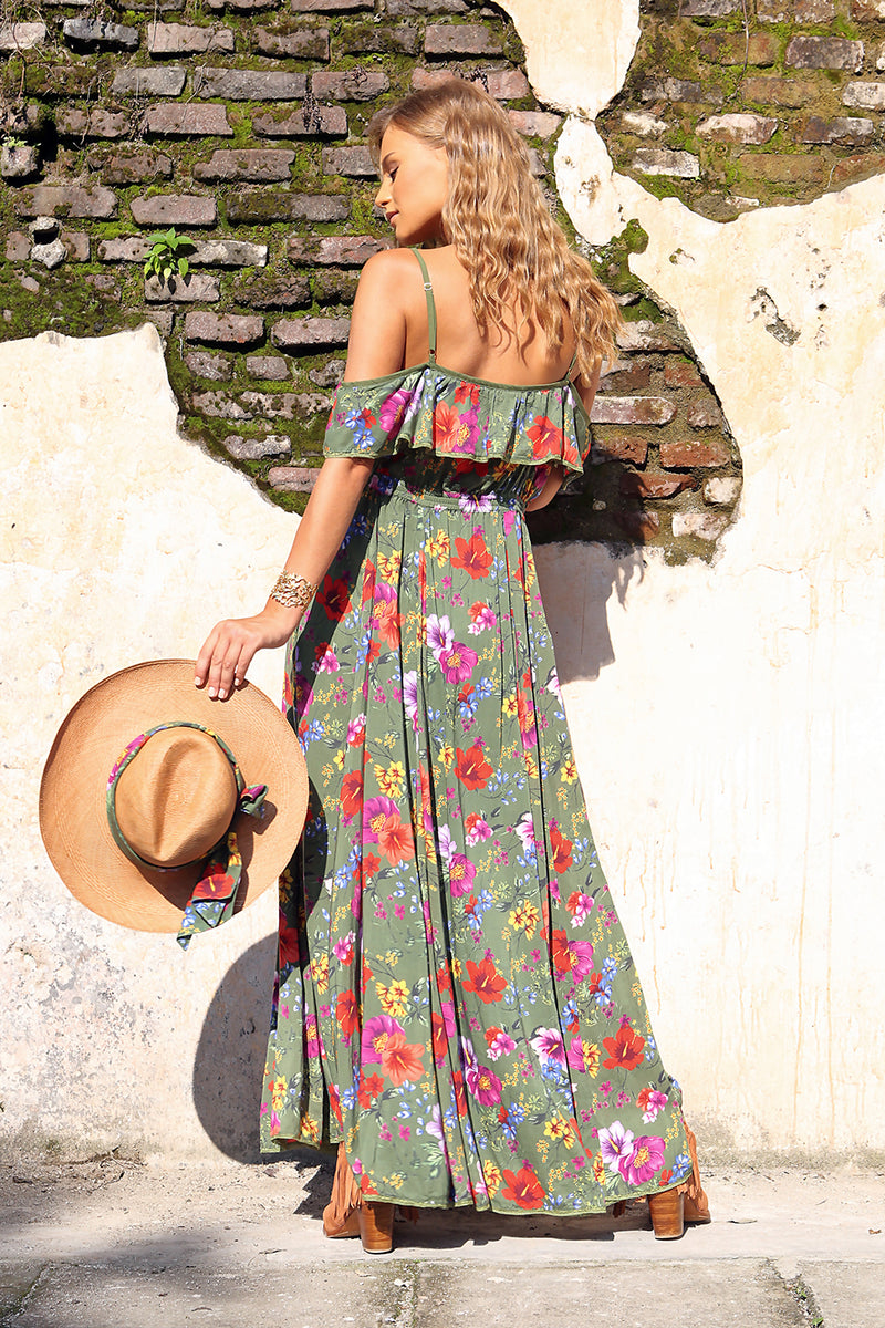 Harmonia Maxi Dress - Khaki - Tulle and Batiste