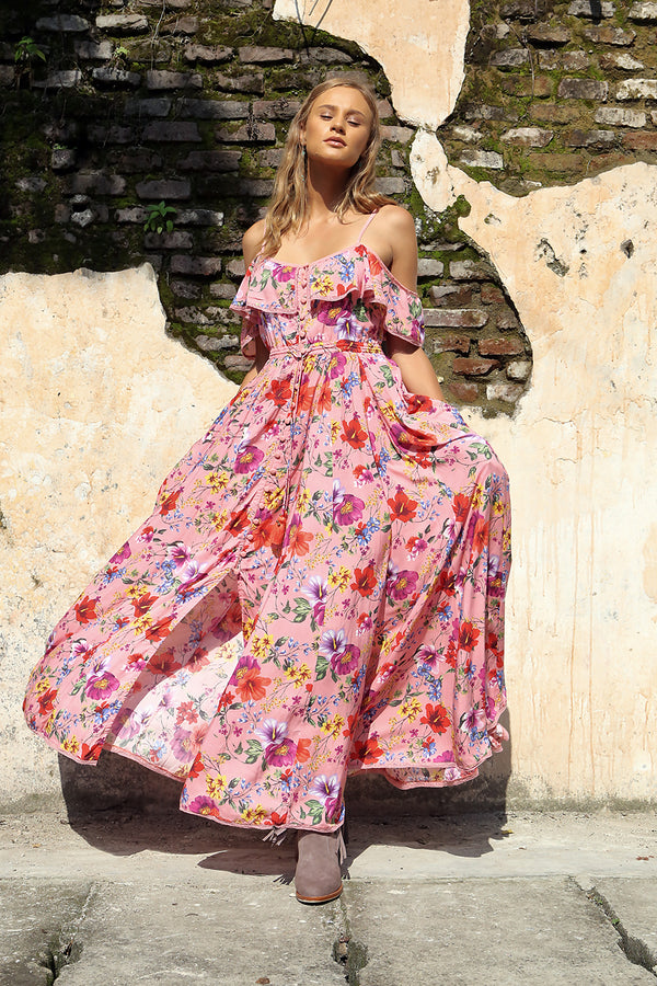 Harmonia Maxi Dress - Pink Blossom - Tulle and Batiste