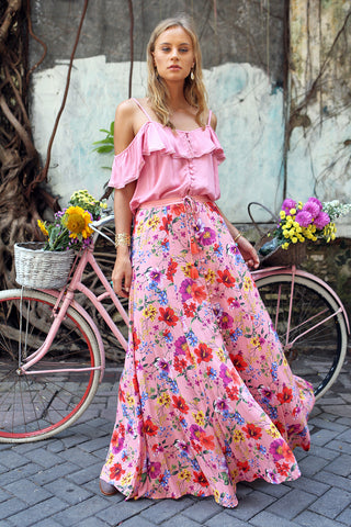 Harmonia Maxi Skirt - Pink Blossom - Tulle and Batiste