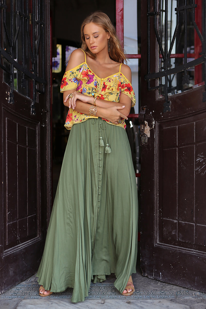 Harmonia Maxi Skirt - Plain Khaki - Tulle and Batiste