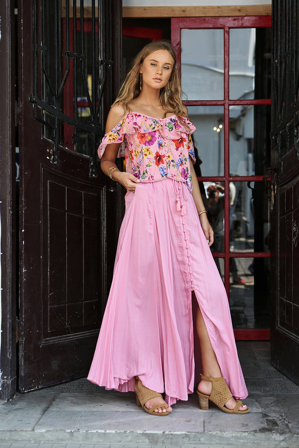 Harmonia Maxi Skirt - Plain Pink Blossom - Tulle and Batiste