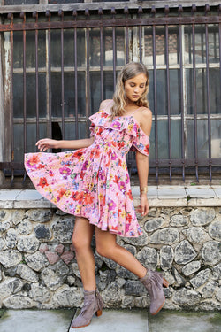 Harmonia Mini Dress - Pink Blossom - Tulle and Batiste