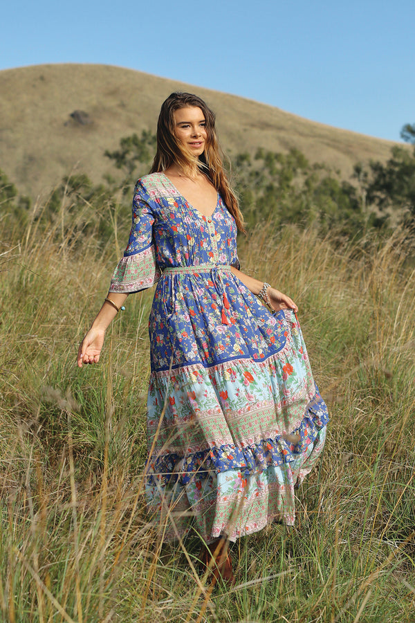 Havillah Maxi Dress - Lapis Lazuli - Tulle and Batiste