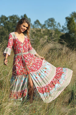 Havillah Maxi Dress - Rococo Red - Tulle and Batiste