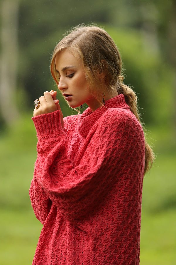 Hazel Turtleneck Sweater - Scarlet Sage - Tulle and Batiste