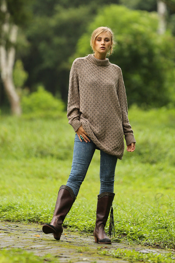 Hazel Turtleneck Sweater - Taupe - Tulle and Batiste