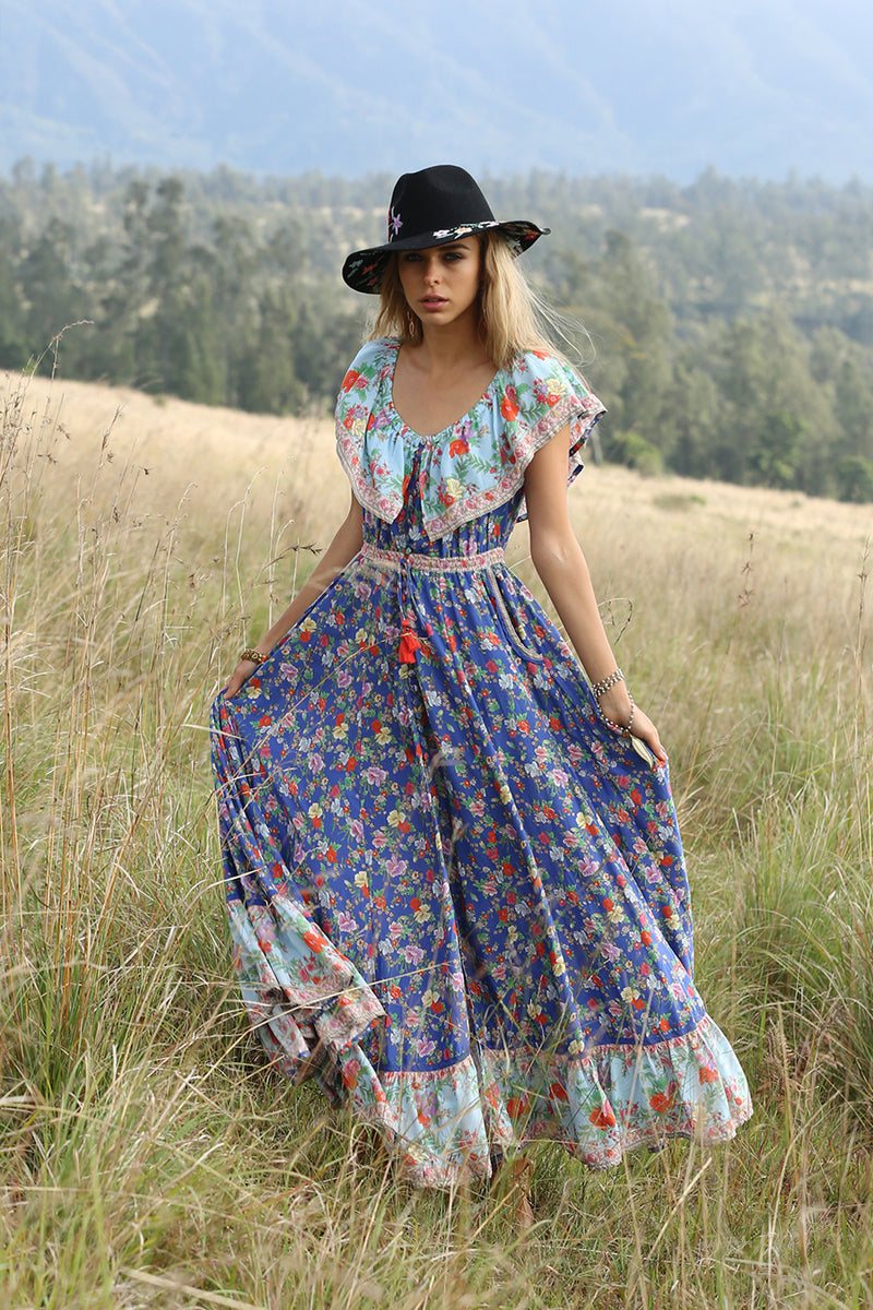 Hosannah Maxi Dress - Lapis Lazuli - Tulle and Batiste