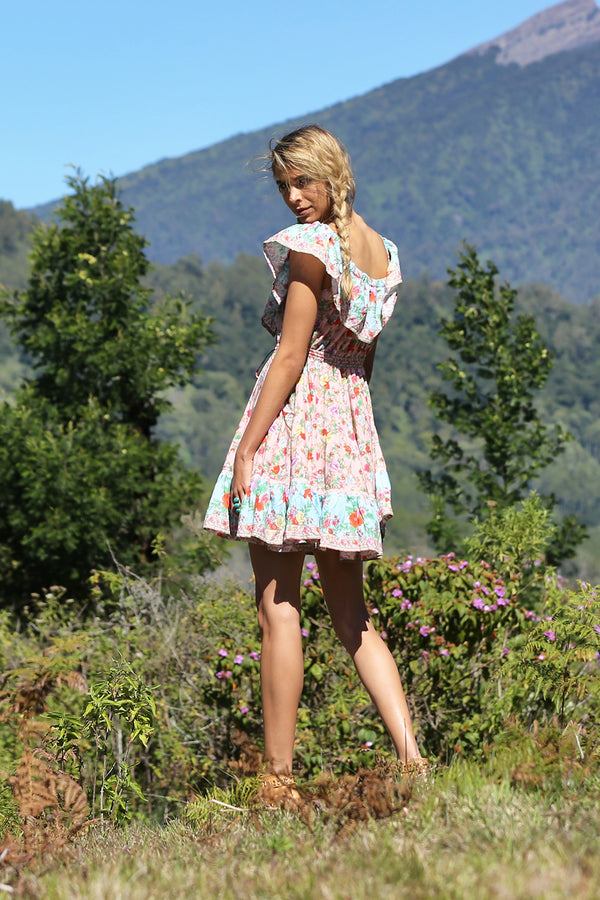 Hosannah Mini Dress - Lotus - Tulle and Batiste