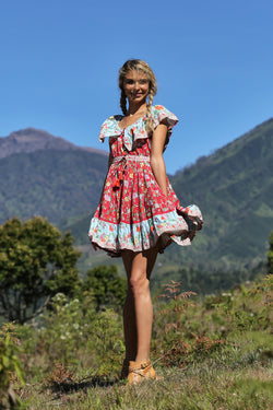 Hosannah Mini Dress - Rococo Red - Tulle and Batiste