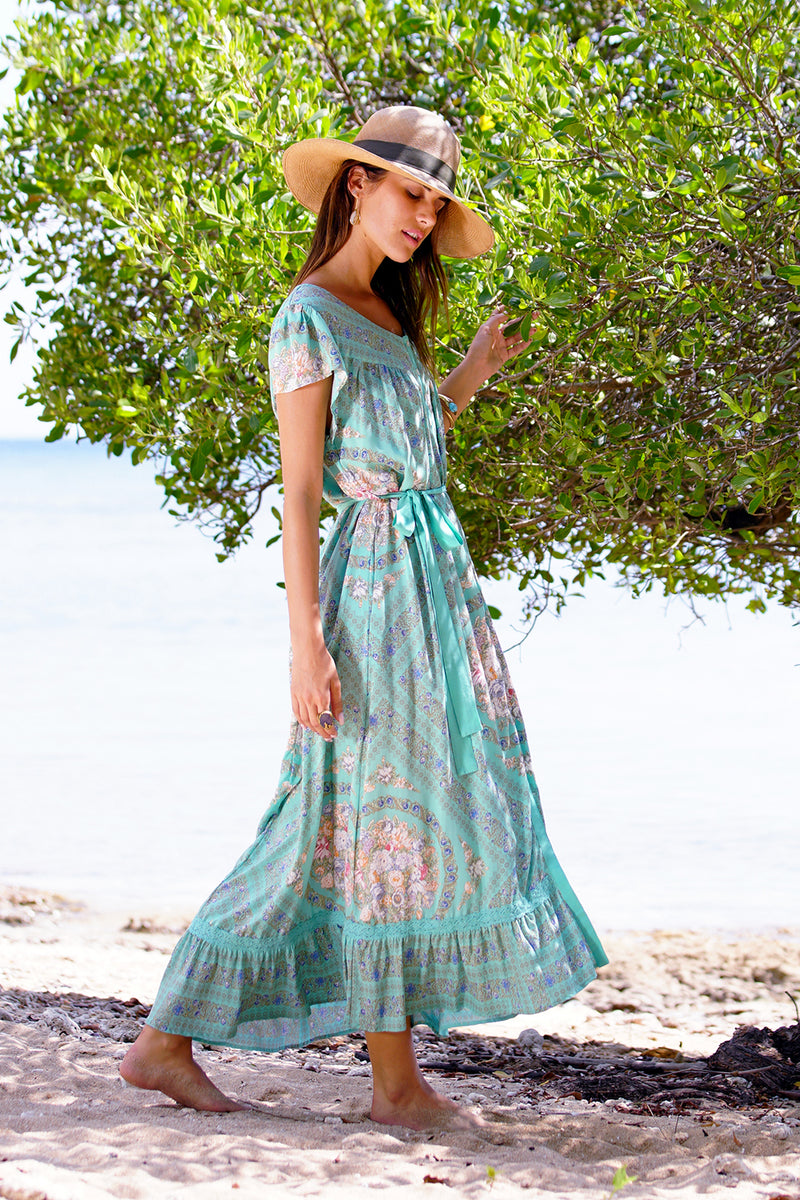 Isabella Maxi Dress - Turquoise - Tulle and Batiste