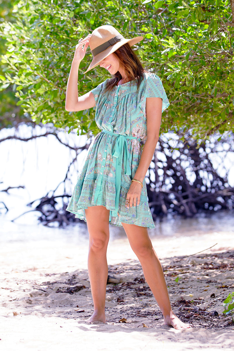 Isabella Mini Dress - Turquoise - Tulle and Batiste