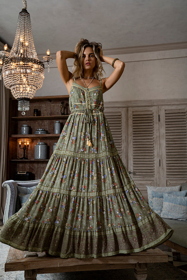 Joanna Maxi Frill Dress - Olive - Daydreamer by Tulle and Batiste