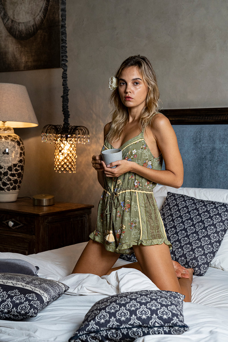 Joanna Playsuit - Olive - Daydreamer by Tulle and Batiste
