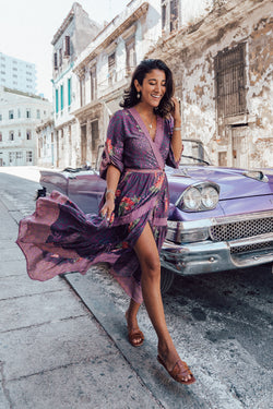 Khaya Wrap Frill Dress - Purple Potion - Tulle and Batiste