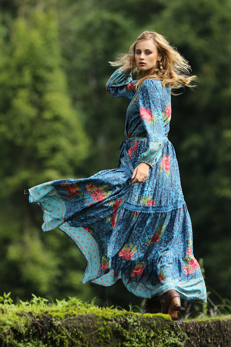 Khaya Maxi Wrap Frill Dress - Blue Moon - Tulle and Batiste