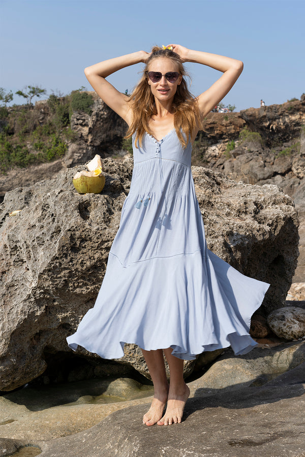 Marbella Midi Dress - Celestial Blue - Tulle and Batiste
