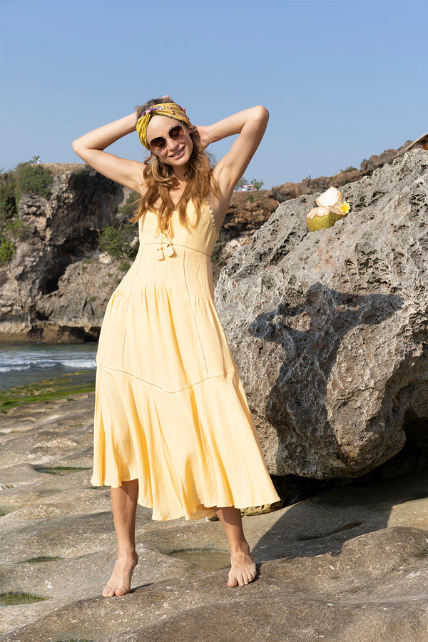 Marbella Midi Dress - Golden Haze - Tulle and Batiste