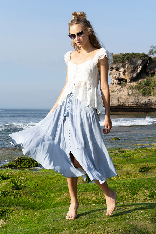 Marbella Midi Skirt - Celestial Blue - Tulle and Batiste