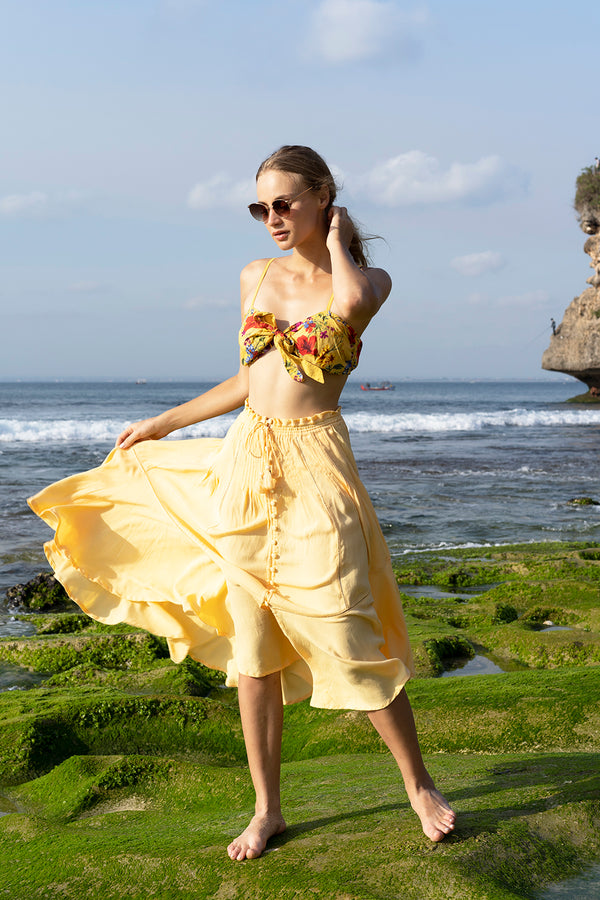 Marbella Midi Skirt - Golden Haze - Tulle and Batiste