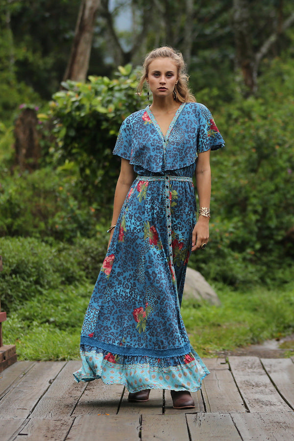 Maya Cape Dress - Blue Moon - Tulle and Batiste