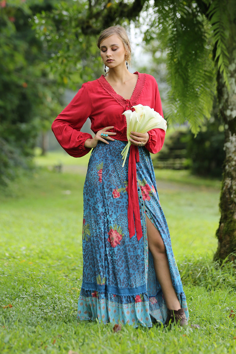Maya Maxi Skirt - Blue Moon - Tulle and Batiste