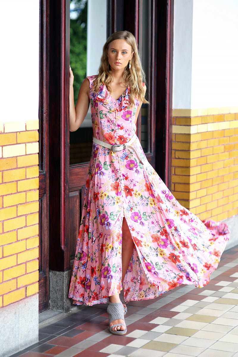 Melody Sleeveless Maxi Dress - Pink Blossom - Tulle and Batiste