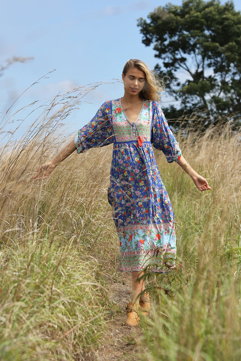 Miriam Boho Dress - Lapis Lazuli - Tulle and Batiste