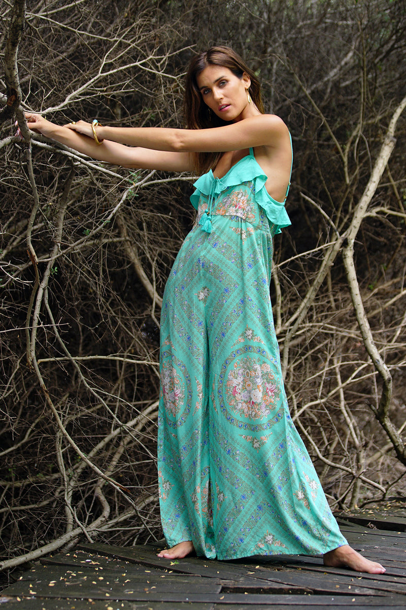 Olivia Romper - Turquoise - Tulle and Batiste