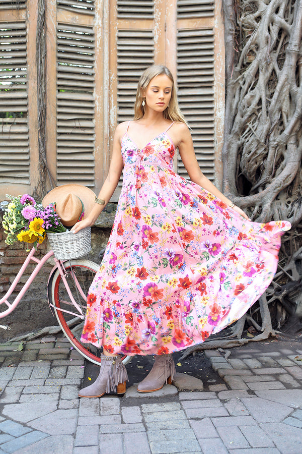 Prairie Midi Slip Dress - Pink Blossom - Tulle and Batiste