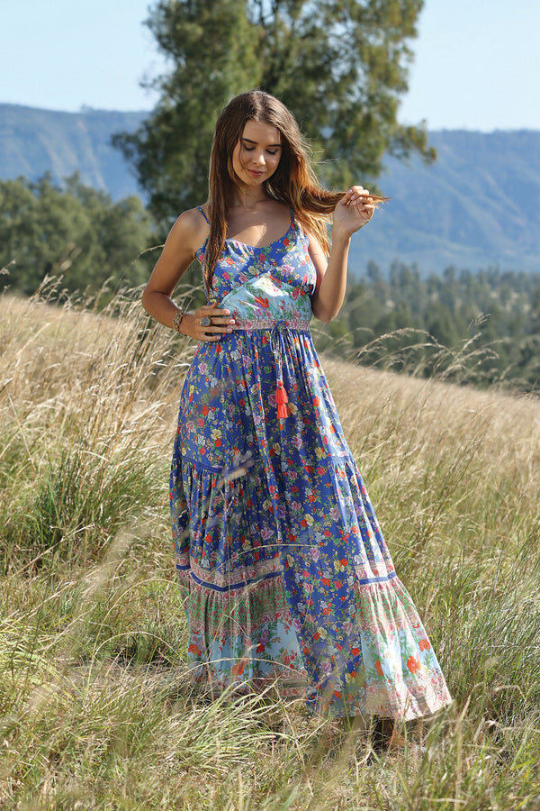 Ravennah Maxi Dress - Lapis Lazuli - Tulle and Batiste