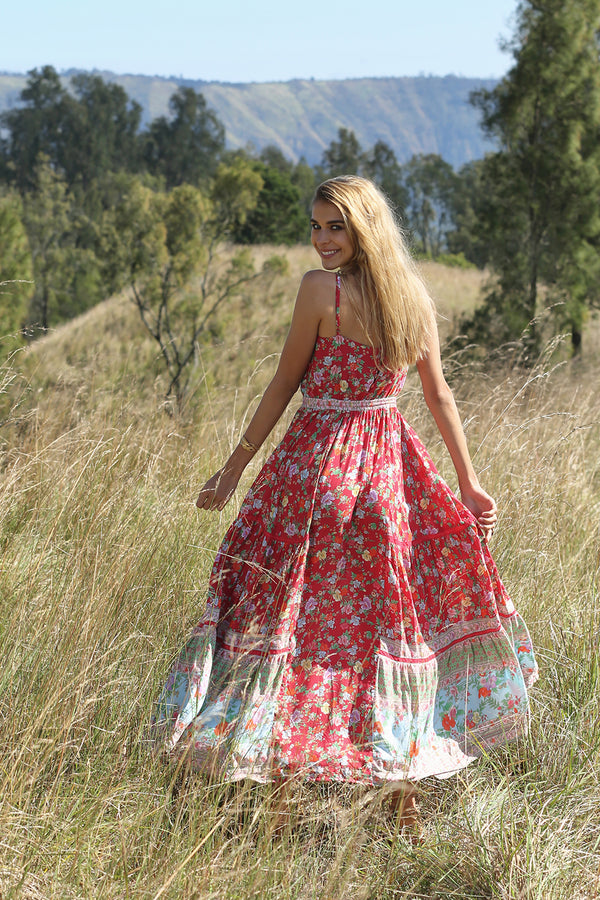 Ravennah Maxi Dress - Rococo Red - Tulle and Batiste