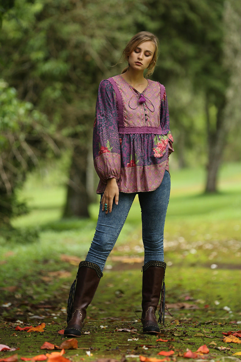 Sahara Boho Blouse - Purple Potion - Tulle and Batiste