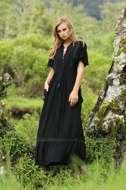 Sahara Maxi Dress - Moonless Black - Tulle and Batiste