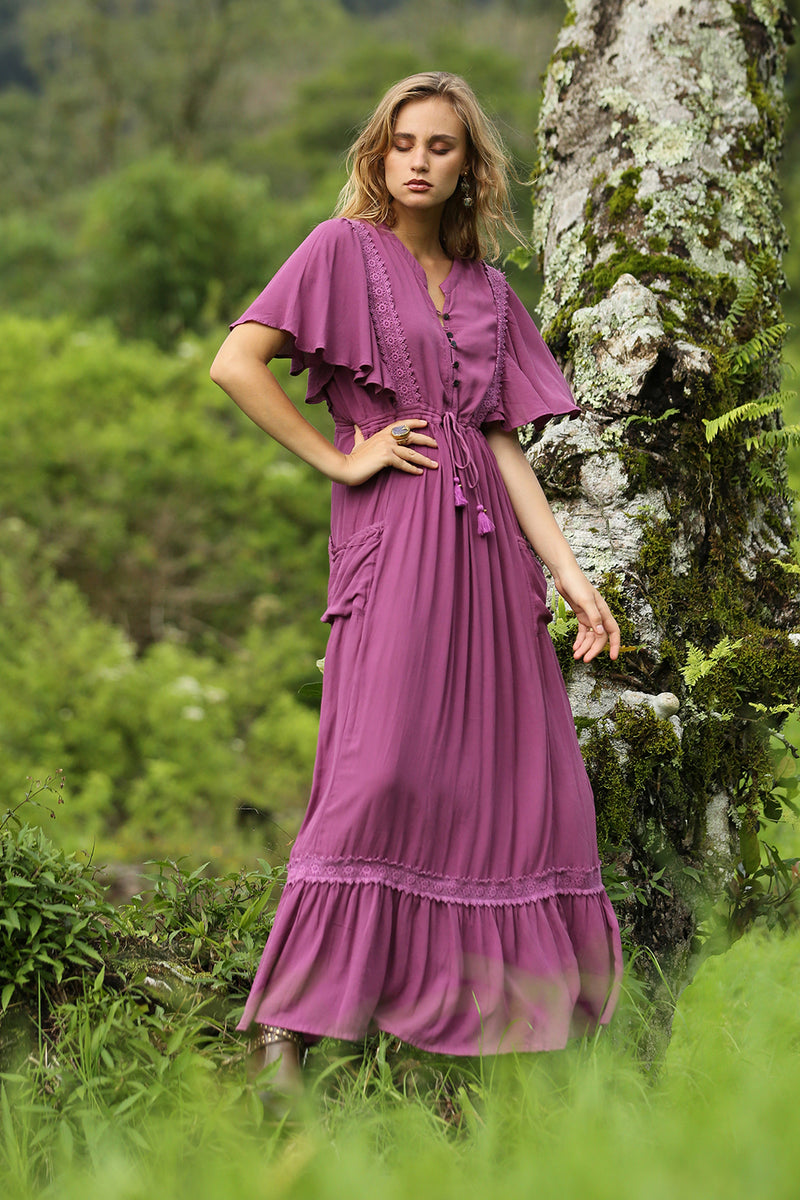 Sahara Maxi Dress - Plain Purple Potion - Tulle and Batiste