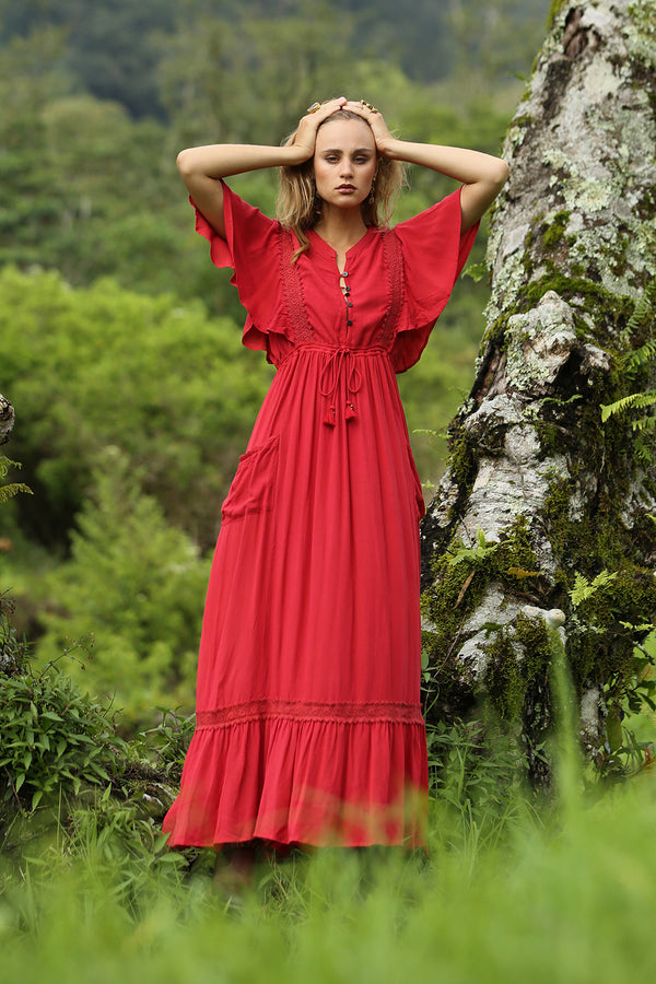 Sahara Maxi Dress - Plain Scarlet Sage - Tulle and Batiste
